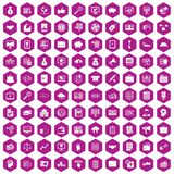 100 business process icons hexagon violet. 100 business process icons set in violet hexagon isolated vector illustration Vector Illustration