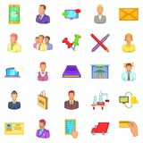Business process icons set, cartoon style Royalty Free Stock Image