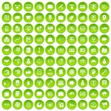 100 business process icons set green circle. Isolated on white background vector illustration Royalty Free Stock Image