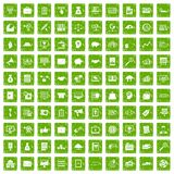 100 business process icons set grunge green Stock Photo