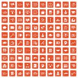 100 business process icons set grunge orange. 100 business process icons set in grunge style orange color isolated on white background vector illustration Stock Images