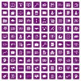 100 business process icons set grunge purple. 100 business process icons set in grunge style purple color isolated on white background vector illustration Royalty Free Stock Photos