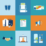 Business process icons set Stock Images
