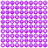 100 business process icons set purple. 100 business process icons set in purple circle isolated on white vector illustration Royalty Free Stock Photo