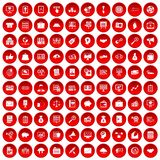100 business process icons set red. 100 business process icons set in red circle isolated on white vector illustration vector illustration