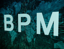 Business Process Management. BPM - Business Process Management text concept on green digital world map background Stock Images