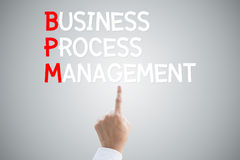 Business process management hand press concept. On grey background Royalty Free Stock Image