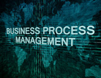 Business Process Management. Text concept on green digital world map background Stock Photo