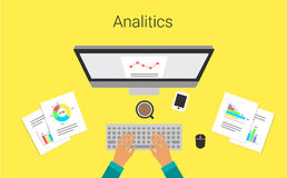 Business process on monitor report graph. Analyst,s work. Analytical graphs and charts. Vector illustration. Stock Photos