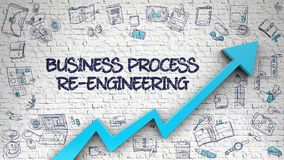 Business Process Re-Engineering Drawn on White Wall. 3d. Business Process Re-Engineering - Increase Concept with Hand Drawn Icons Around on White Wall Background Royalty Free Stock Image