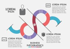 Business process. Timeline infographics with 3 options, circles.Vector template.Three steps infographics a strategy, workflow or t. Eam work royalty free illustration