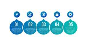 Business process. Timeline infographics with 5 steps, options, arrows and extra icons. Vector template isolated on white stock illustration
