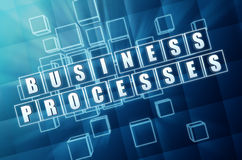 Business processes in blue glass blocks Stock Image