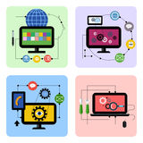 Business processes concept icon set in flat design Royalty Free Stock Images