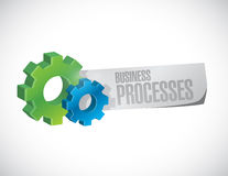 Business processes gear paper sign concept. Illustration design over white Stock Image