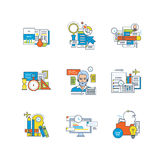 Business processes icons set over white background. Support, education, research, planning, time management, marketing, communications, creative, business Royalty Free Stock Image