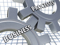 Business Processes on the Mechanism of Metal Gears Stock Photos