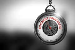 Business Processes on Pocket Watch Face. 3D Illustration. Stock Photo