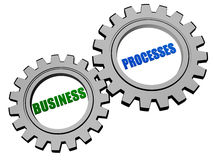 Business processes in silver grey gears Royalty Free Stock Photography