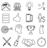 Business productivity line icons set. In black Royalty Free Stock Photos