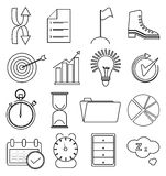 Business productivity line icons set. In black Royalty Free Stock Photography
