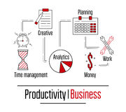Business productivity and success. Flat line  of design process from business productivity and success. Concept for your materials Stock Images