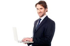 Business professional browsing on laptop Stock Photography