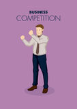 Business Professional in Fighting Gesture for Business. Vector illustration of business professional holding clench fists in ready to fight gesture isolated on Royalty Free Stock Images