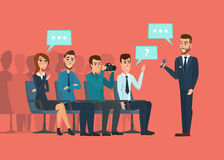 Business professional meeting. Journalists and photographers Stock Image