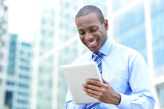 Business professional using a tablet pc Stock Photo