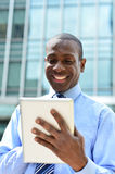 Business professional using a tablet pc Stock Image
