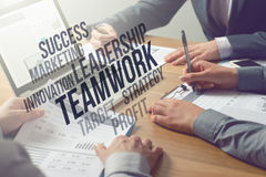 Business professionals analyzing financial data Royalty Free Stock Image