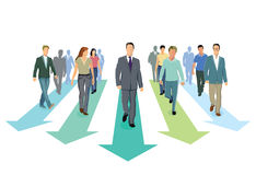 Business professionals on arrows Stock Image