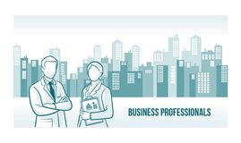 Business professionals banner. With skyline urban background Royalty Free Stock Image