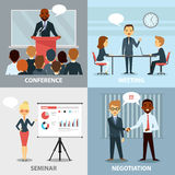Business Professionals Presenting Ideas Flat Collection  Stock Photos