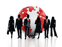Business professionals standing in front of the globe. 3D illustration stock illustration