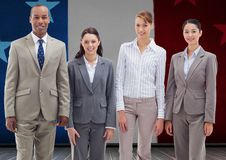 Business professionals standing together against france national flag Stock Photo