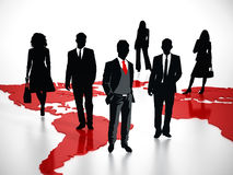 Business professionals standing on world map. 3D illustration Royalty Free Stock Images