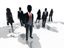 Business professionals standing on world map. 3D illustration Stock Images