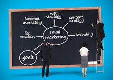 Business professionals writing on blackboard with business plan concept Stock Images