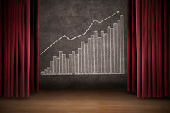 Business profit bar chart on stage Royalty Free Stock Image