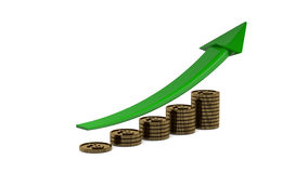 Business profit growth graph chart with reflection Royalty Free Stock Image