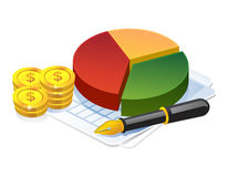 Business profit pie graph. 3D Illustration of Pie Chart, dollar coin and pen. Business and finance icon Stock Photography