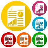 Business profit report icons set with long shadow. Vector icon Stock Images