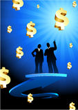 Business of profits background with two people Royalty Free Stock Images