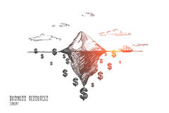 Business progress concept. Hand drawn isolated vector. Business resources concept. Hand drawn iceberg as a symbol of huge resources. Dollar symbol isolated Royalty Free Stock Images