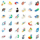 Business progress icons set, isometric style. Business progress icons set. Isometric style of 36 business progress vector icons for web isolated on white Royalty Free Stock Images
