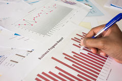Business progress report. Analyzing business progress report charts Stock Photo