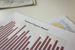 Business progress report. Graph chart Stock Photo