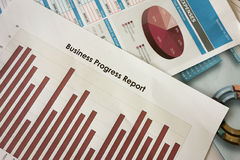 Business progress report. Business progress graph report chart Royalty Free Stock Photo
